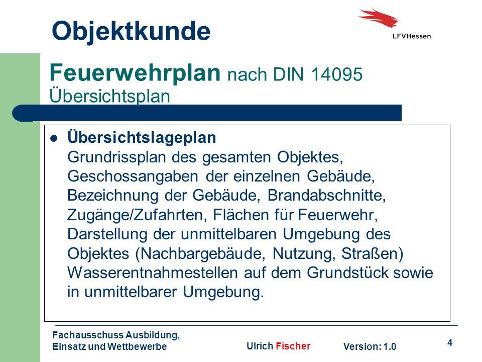 4 Objektkunde Version: 1.0 Fachausschuss Ausbildung, Einsatz und WettbewerbeUlrich Fischer Feuerwehrplan nach DIN 14095 Übersichtsplan Übersichtslagep