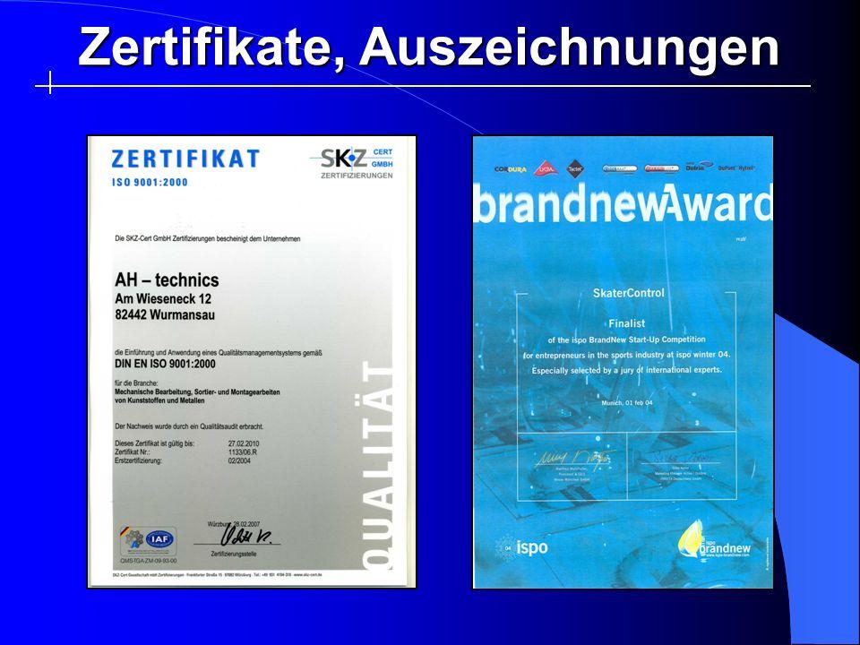 Zertifikate, Auszeichnungen