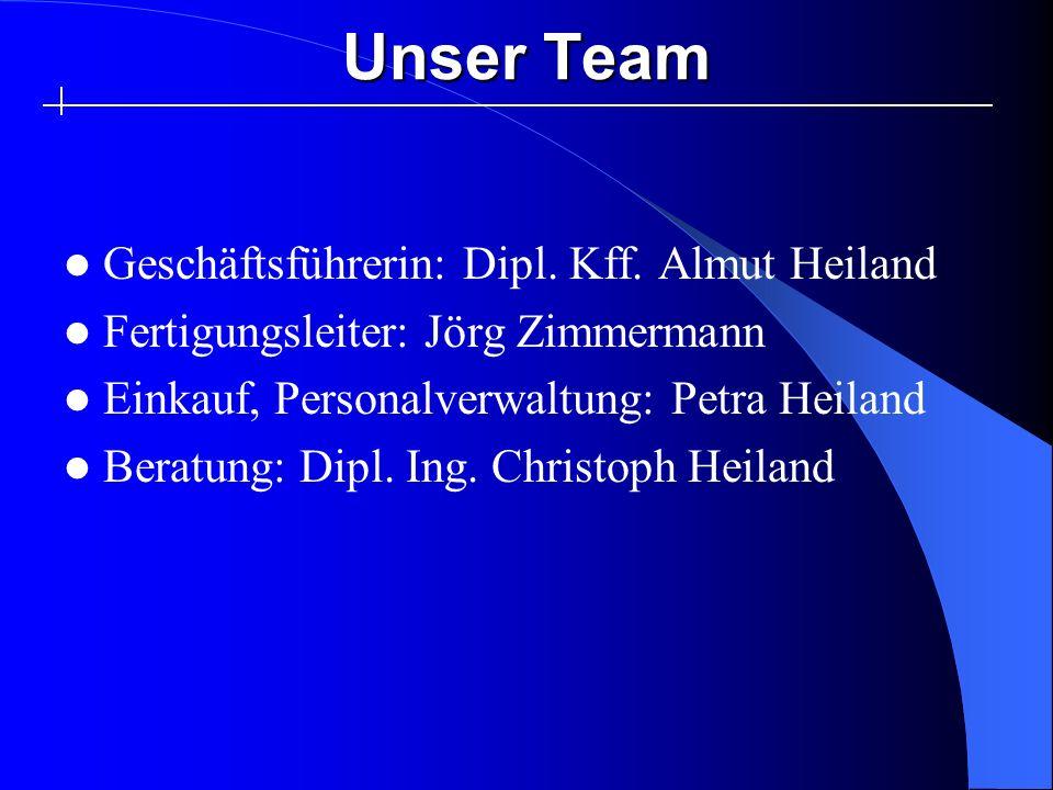 Unser Team Geschäftsführerin: Dipl. Kff. Almut Heiland Fertigungsleiter: Jörg Zimmermann Einkauf, Personalverwaltung: Petra Heiland Beratung: Dipl. In