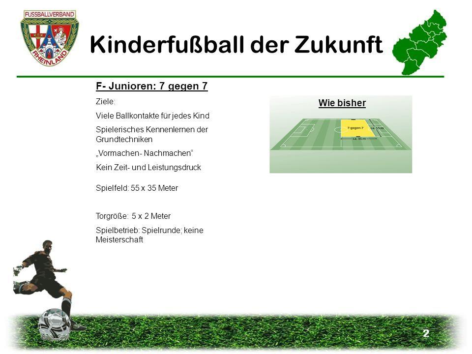 2 Kinderfußball der Zukunft F- Junioren: 7 gegen 7 Ziele: Viele Ballkontakte für jedes Kind Spielerisches Kennenlernen der Grundtechniken Vormachen- N