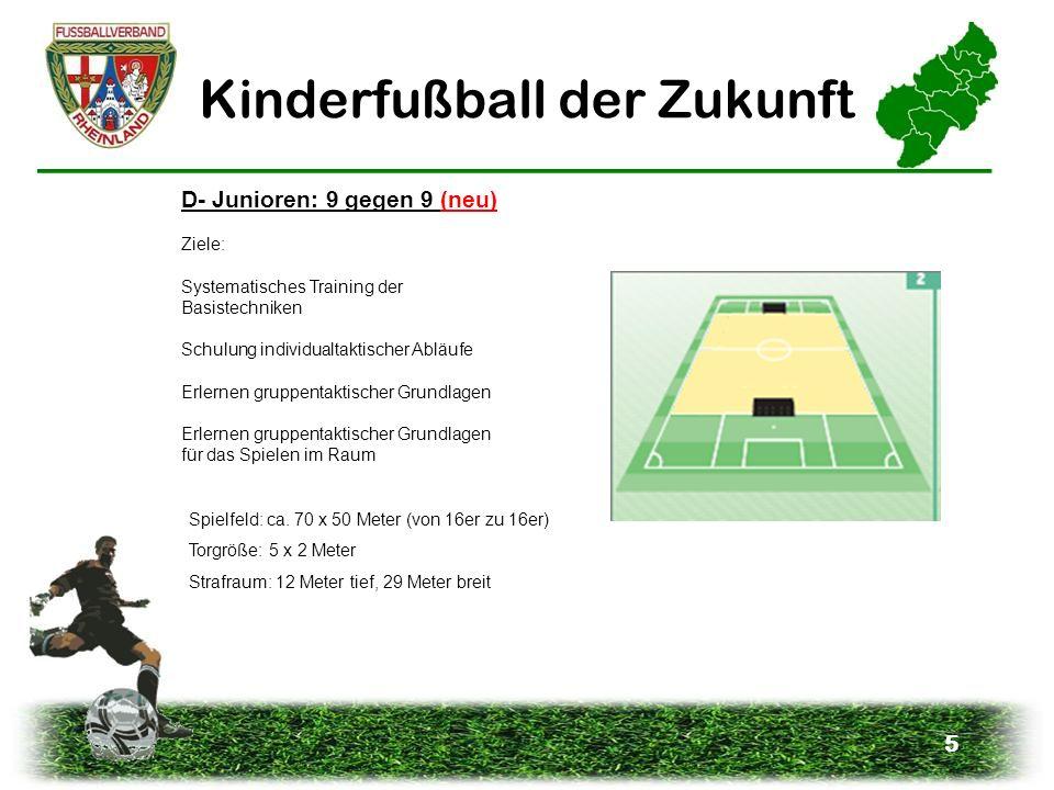 5 Kinderfußball der Zukunft D- Junioren: 9 gegen 9 (neu) Ziele: Systematisches Training der Basistechniken Schulung individualtaktischer Abläufe Erler