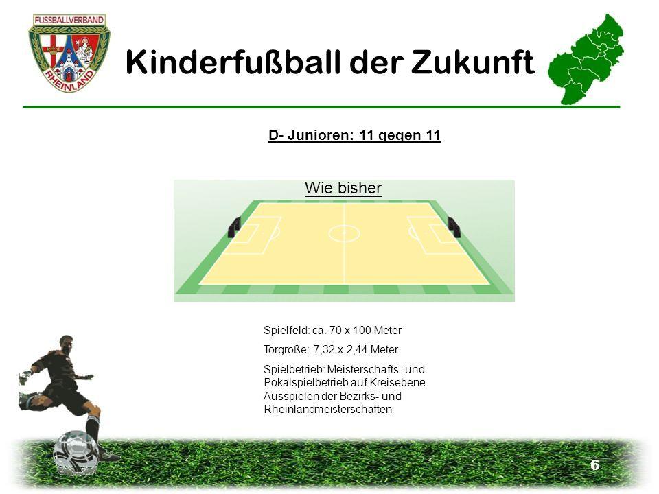 6 Kinderfußball der Zukunft D- Junioren: 11 gegen 11 Spielfeld: ca. 70 x 100 Meter Torgröße: 7,32 x 2,44 Meter Spielbetrieb: Meisterschafts- und Pokal