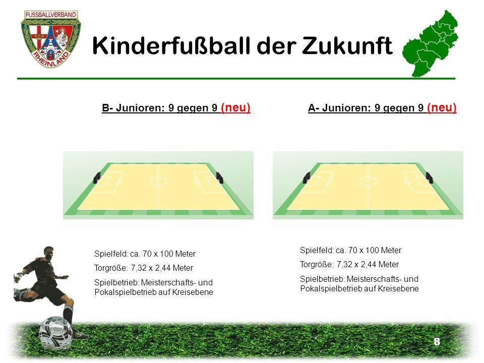 8 Kinderfußball der Zukunft A- Junioren: 9 gegen 9 (neu) B- Junioren: 9 gegen 9 (neu) Spielfeld: ca. 70 x 100 Meter Torgröße: 7,32 x 2,44 Meter Spielb