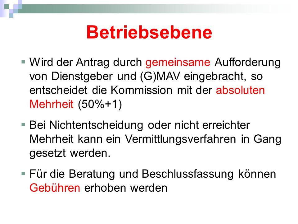 Betriebsebene Wird der Antrag durch gemeinsame Aufforderung von Dienstgeber und (G)MAV eingebracht, so entscheidet die Kommission mit der absoluten Mehrheit (50%+1) Bei Nichtentscheidung oder nicht erreichter Mehrheit kann ein Vermittlungsverfahren in Gang gesetzt werden.