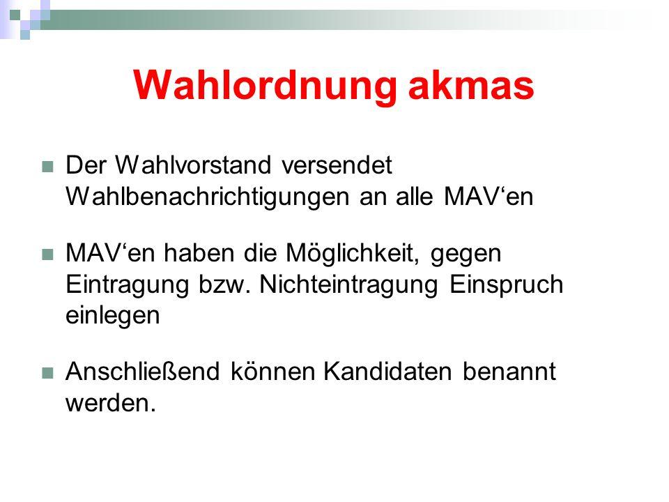 Wahlordnung akmas Der Wahlvorstand versendet Wahlbenachrichtigungen an alle MAVen MAVen haben die Möglichkeit, gegen Eintragung bzw. Nichteintragung E