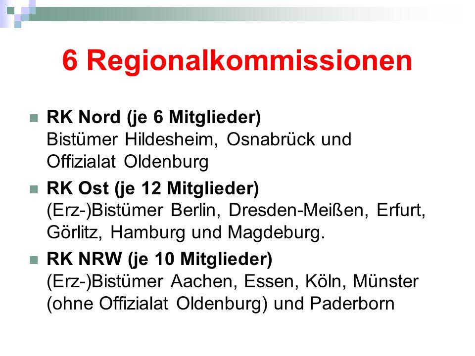 6 Regionalkommissionen RK Mitte (je 10 Mitglieder) Bistümer Fulda, Limburg, Mainz, Speyer und Trier.