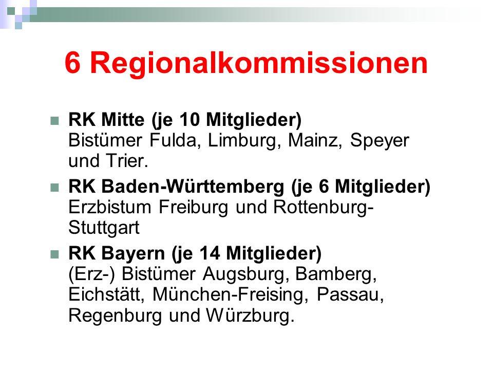 6 Regionalkommissionen RK Mitte (je 10 Mitglieder) Bistümer Fulda, Limburg, Mainz, Speyer und Trier. RK Baden-Württemberg (je 6 Mitglieder) Erzbistum