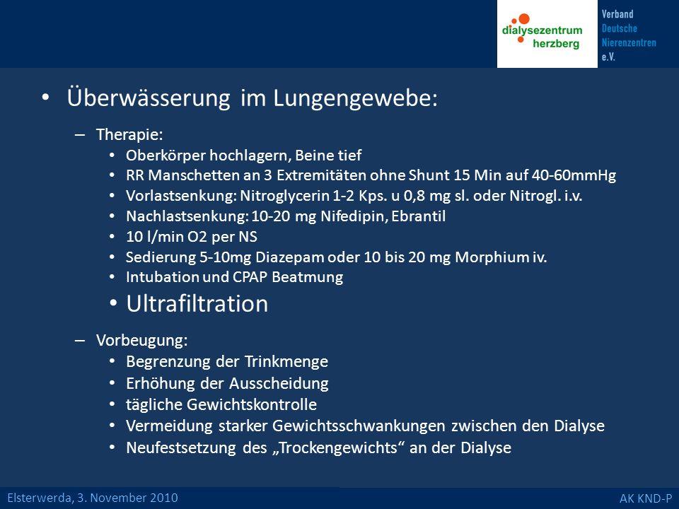 Elsterwerda, 3. November 2010 AK KND-P Überwässerung im Lungengewebe: – Therapie: Oberkörper hochlagern, Beine tief RR Manschetten an 3 Extremitäten o