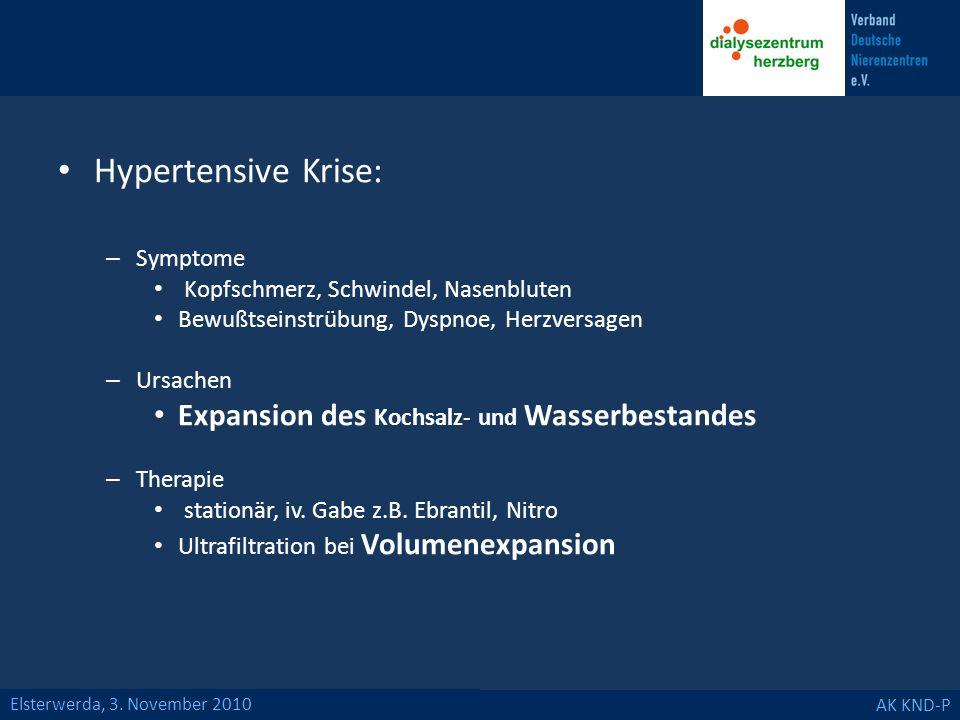 Elsterwerda, 3. November 2010 AK KND-P Hypertensive Krise: – Symptome Kopfschmerz, Schwindel, Nasenbluten Bewußtseinstrübung, Dyspnoe, Herzversagen –