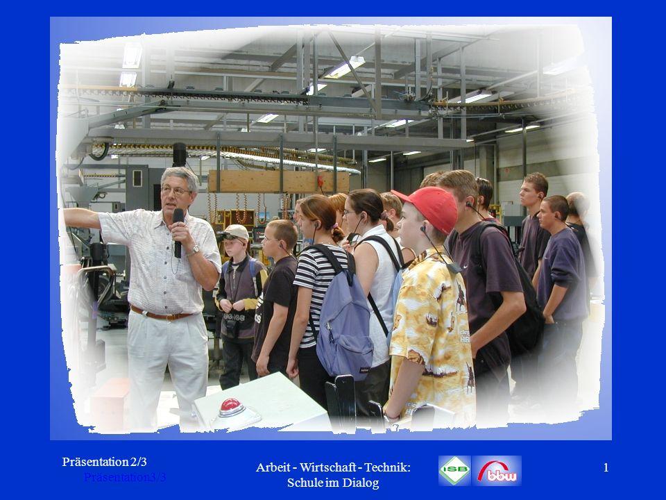 Präsentation 2/3 Präsentation3/3 Arbeit - Wirtschaft - Technik: Schule im Dialog 2 A rbeit – W irtschaft – T echnik: Schule im Dialog Expertentagung Hauptschule am 22./23.