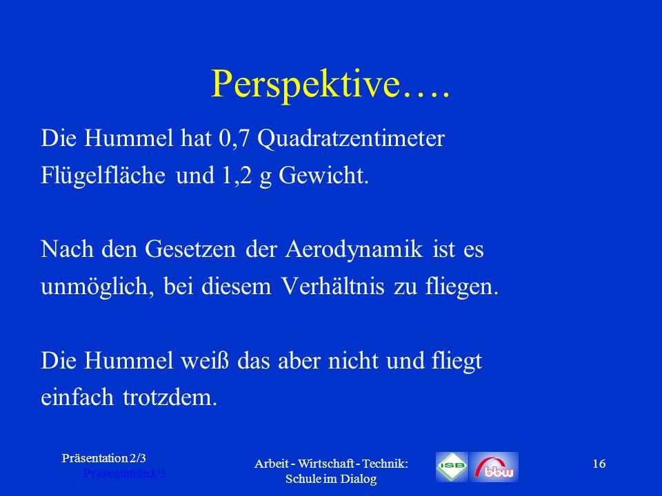 Präsentation 2/3 Präsentation3/3 Arbeit - Wirtschaft - Technik: Schule im Dialog 16 Perspektive…. Die Hummel hat 0,7 Quadratzentimeter Flügelfläche un
