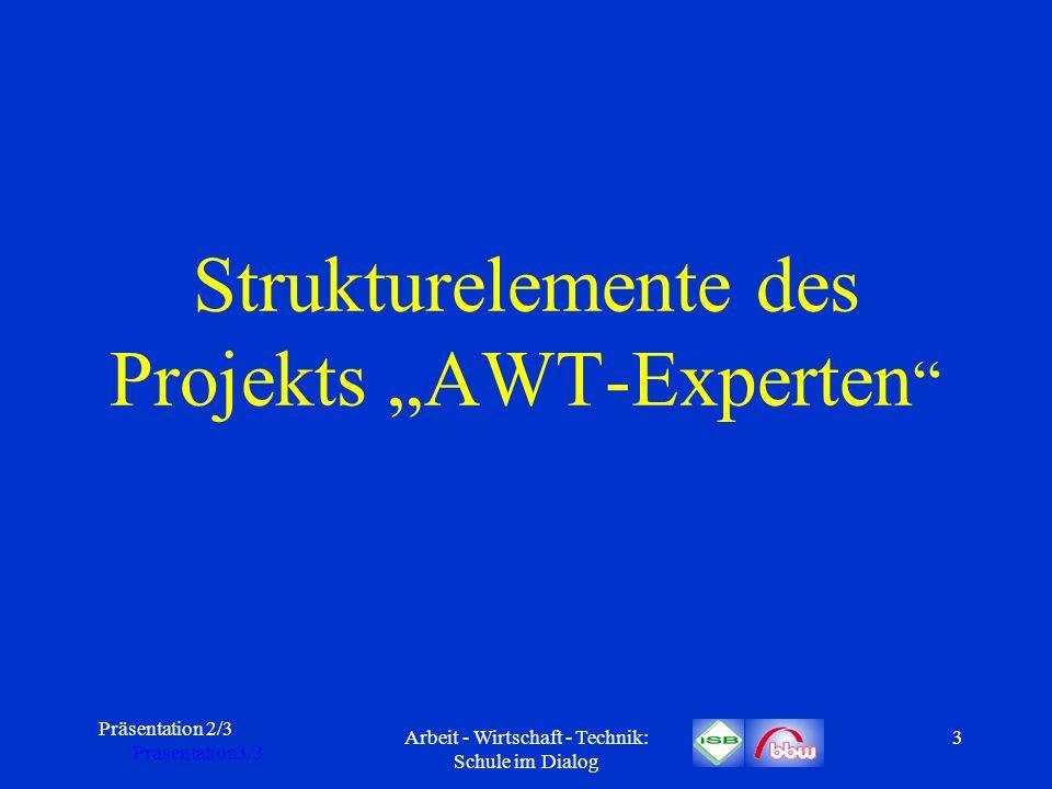 Präsentation 2/3 Präsentation3/3 Arbeit - Wirtschaft - Technik: Schule im Dialog 4 Expertenkonzept AWT-Experten ist ein Projekt des ISB mit mehreren Partnern.