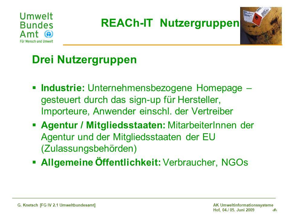 AK Umweltinformationssysteme Hof, 04./ 05. Juni 2009 11 G. Knetsch [FG IV 2.1 Umweltbundesamt] REACh-IT Nutzergruppen Drei Nutzergruppen Industrie: Un
