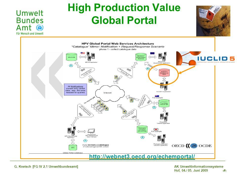 AK Umweltinformationssysteme Hof, 04./ 05. Juni 2009 28 G. Knetsch [FG IV 2.1 Umweltbundesamt] High Production Value Global Portal http://webnet3.oecd