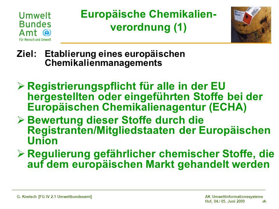 AK Umweltinformationssysteme Hof, 04./ 05. Juni 2009 3 G. Knetsch [FG IV 2.1 Umweltbundesamt] Europäische Chemikalien- verordnung (1) Ziel: Etablierun
