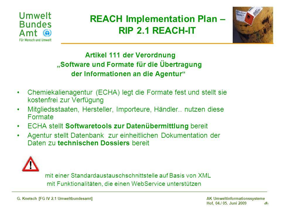AK Umweltinformationssysteme Hof, 04./ 05. Juni 2009 5 G. Knetsch [FG IV 2.1 Umweltbundesamt] REACH Implementation Plan – RIP 2.1 REACH-IT Artikel 111