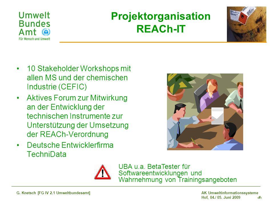 AK Umweltinformationssysteme Hof, 04./ 05. Juni 2009 6 G. Knetsch [FG IV 2.1 Umweltbundesamt] Projektorganisation REACh-IT 10 Stakeholder Workshops mi