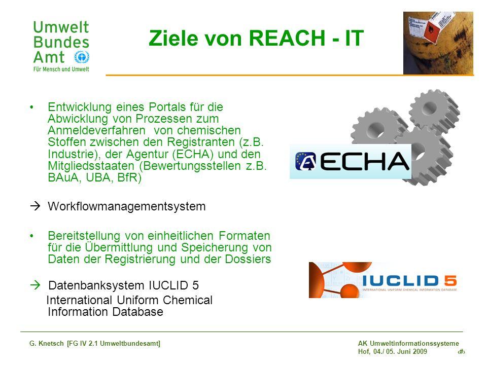 AK Umweltinformationssysteme Hof, 04./ 05. Juni 2009 7 G. Knetsch [FG IV 2.1 Umweltbundesamt] Ziele von REACH - IT Entwicklung eines Portals für die A
