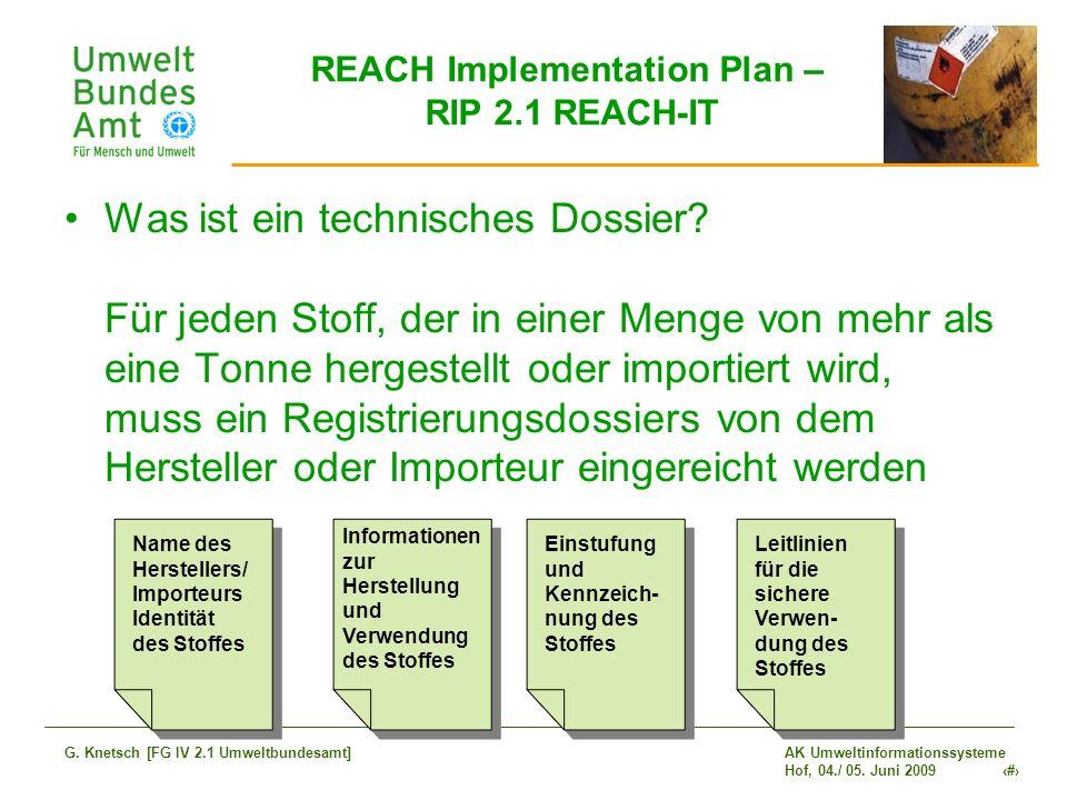 AK Umweltinformationssysteme Hof, 04./ 05. Juni 2009 8 G. Knetsch [FG IV 2.1 Umweltbundesamt] REACH Implementation Plan – RIP 2.1 REACH-IT Was ist ein