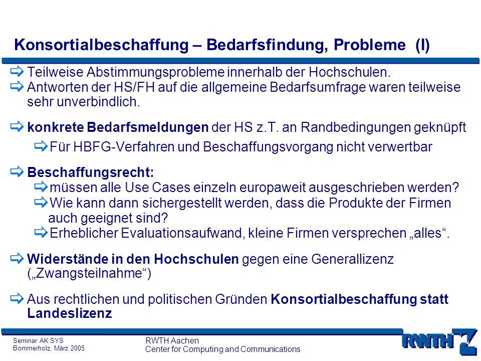 Seminar AK SYS Bommerholz, März 2005 RWTH Aachen Center for Computing and Communications Konsortialbeschaffung – Bedarfsfindung, Probleme (I) Teilweis