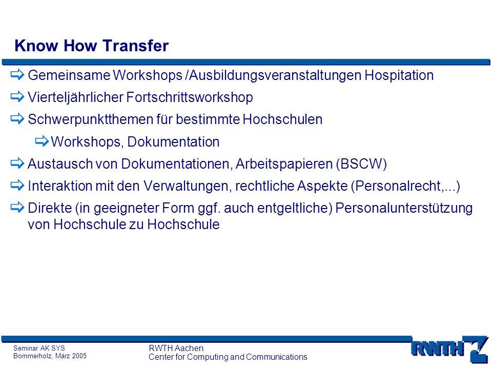 Seminar AK SYS Bommerholz, März 2005 RWTH Aachen Center for Computing and Communications Know How Transfer Gemeinsame Workshops /Ausbildungsveranstalt