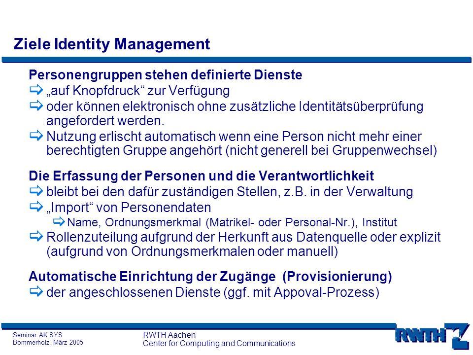 Seminar AK SYS Bommerholz, März 2005 RWTH Aachen Center for Computing and Communications Ziele Identity Management Personengruppen stehen definierte D