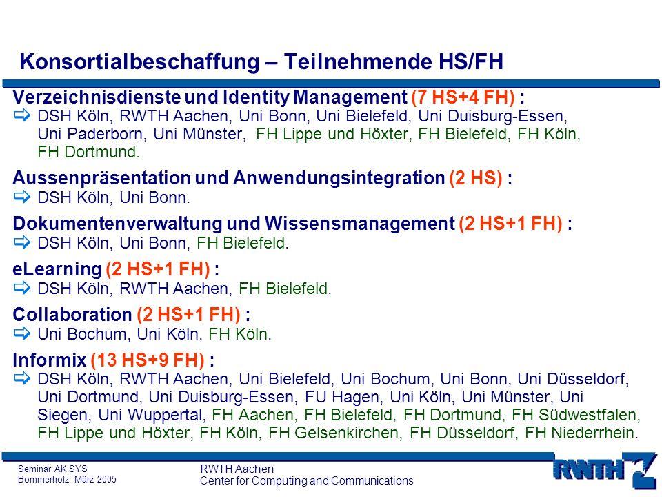 Seminar AK SYS Bommerholz, März 2005 RWTH Aachen Center for Computing and Communications Konsortialbeschaffung – Bedarfsfindung, Probleme (I) Teilweise Abstimmungsprobleme innerhalb der Hochschulen.