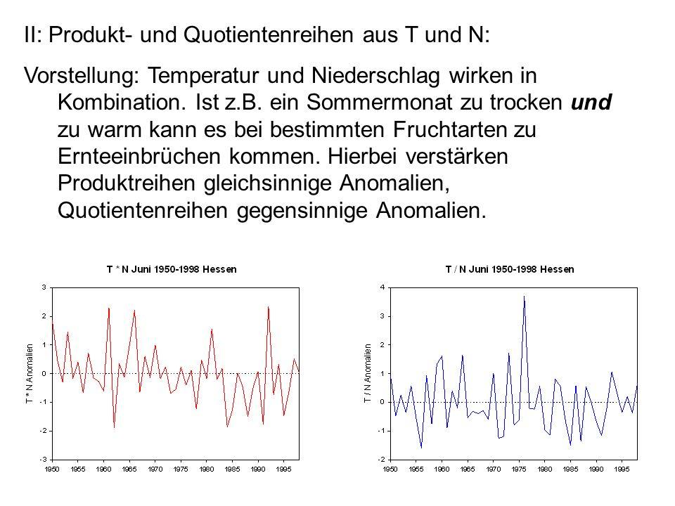 II: Produkt- und Quotientenreihen aus T und N: Vorstellung: Temperatur und Niederschlag wirken in Kombination. Ist z.B. ein Sommermonat zu trocken und