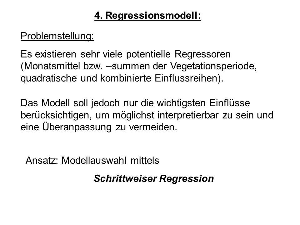 4. Regressionsmodell: Problemstellung: Es existieren sehr viele potentielle Regressoren (Monatsmittel bzw. –summen der Vegetationsperiode, quadratisch