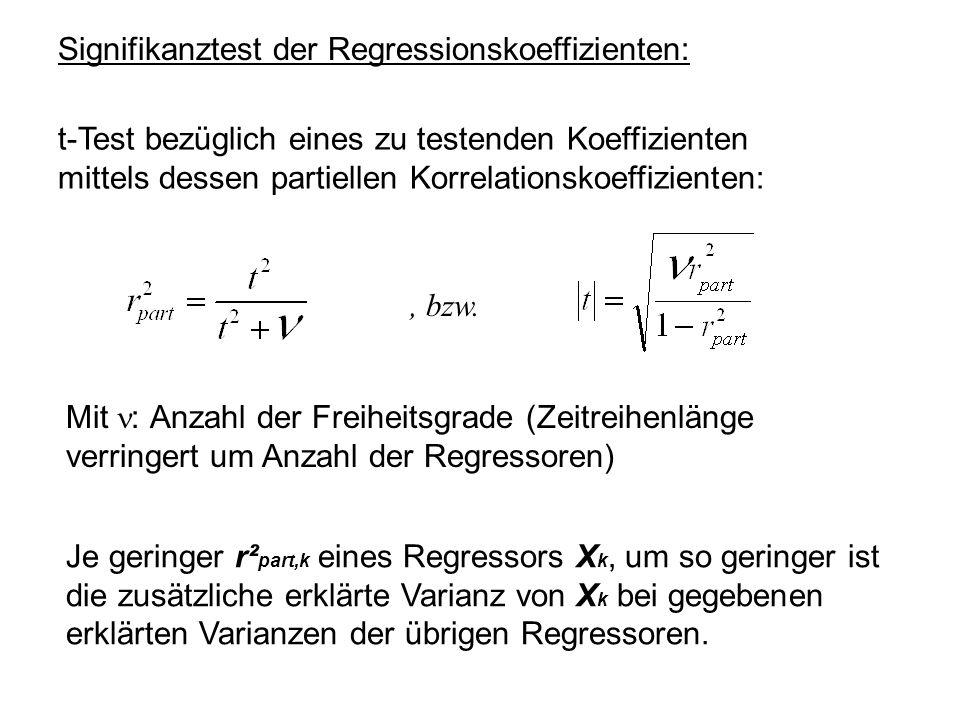 Signifikanztest der Regressionskoeffizienten: t-Test bezüglich eines zu testenden Koeffizienten mittels dessen partiellen Korrelationskoeffizienten:,