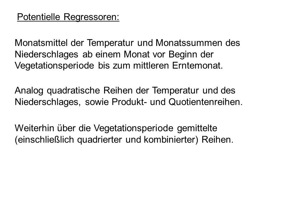 Potentielle Regressoren: Monatsmittel der Temperatur und Monatssummen des Niederschlages ab einem Monat vor Beginn der Vegetationsperiode bis zum mitt