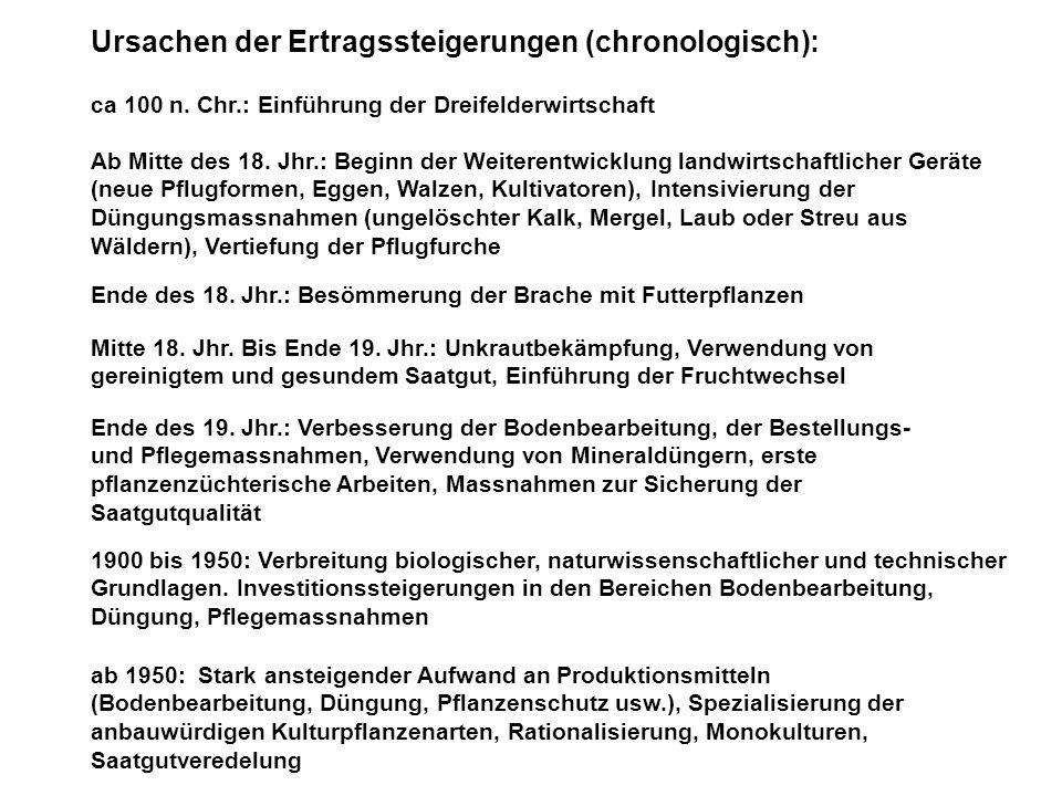 Ursachen der Ertragssteigerungen (chronologisch): ca 100 n. Chr.: Einführung der Dreifelderwirtschaft Ende des 18. Jhr.: Besömmerung der Brache mit Fu