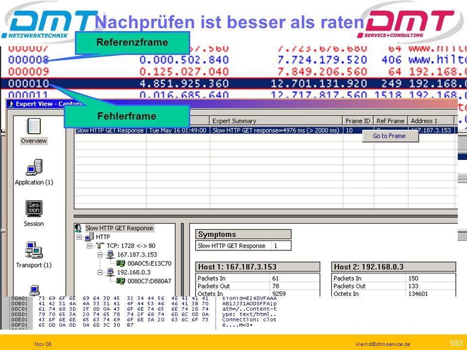 102 Nov 06kleindl©dmt-service.de Aha ! Da ist das vom Anwender reklamierte Problem schon zu erkennen.