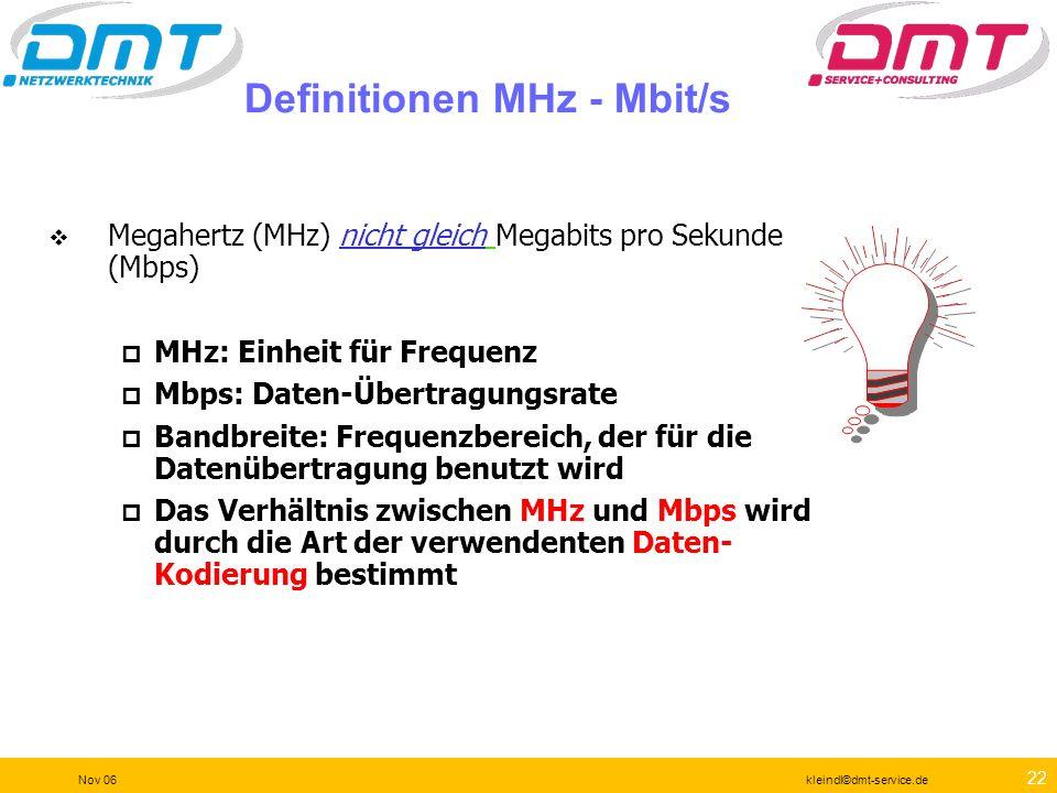 21 Nov 06kleindl©dmt-service.de Eine komplettere Spezifikation Garantiert OK für 1000BASE-T Leistungsvergleich