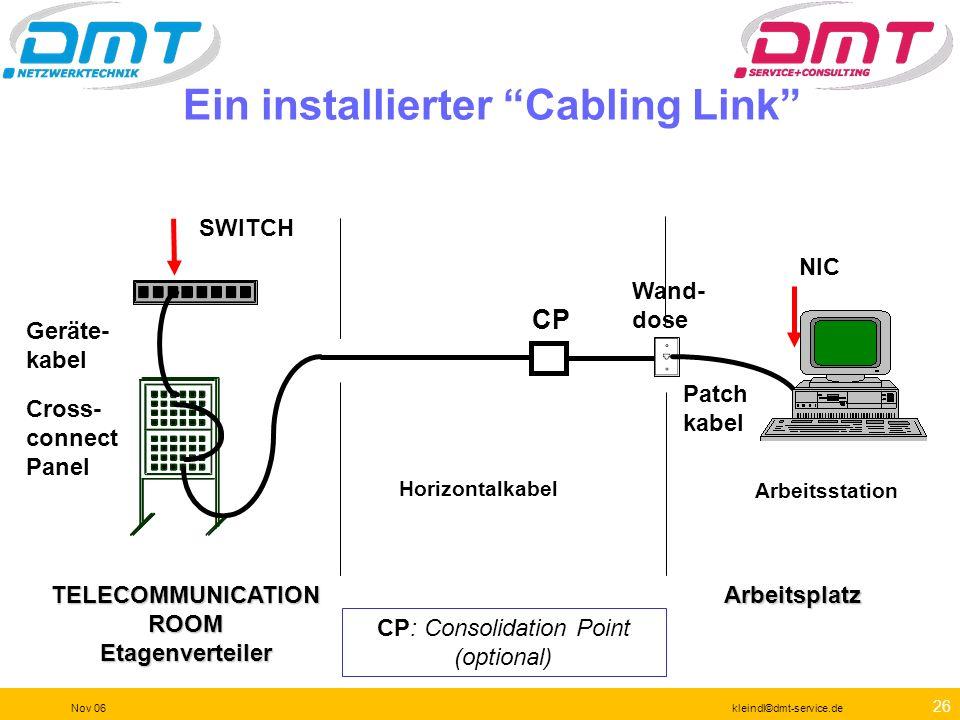 25 Nov 06kleindl©dmt-service.de Kabelkategorien Kategorie Frequenz Datenrate Anwendung 3 4 5 5e 6 6a 7 7a 8 16 MHz 20 MHz 100 MHz 250 MHz 500 MHz 600