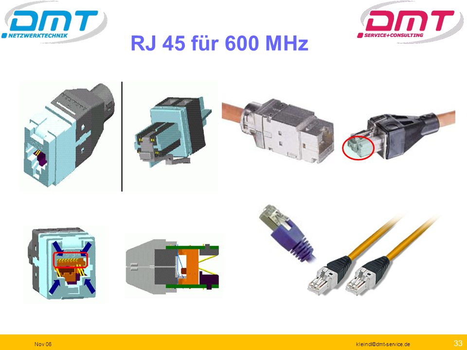 32 Nov 06kleindl©dmt-service.de Standards Compliant Cat 6 Plug Patented design yields the most accurate and repeatable test results in the field. Inte
