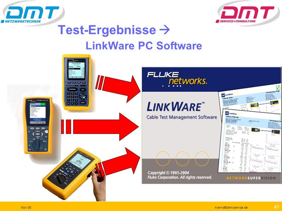 40 Nov 06kleindl©dmt-service.de Testeinstellung Knopfdruck auf SETUP Wählen sie den richtigen Link und den Standard EN50173 Class E PL 100 Ohm STP NVP