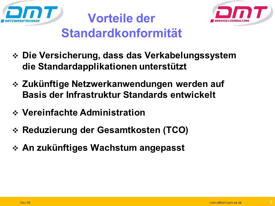 75 Nov 06kleindl©dmt-service.de Änderungen müssen geplant sein Marktsichtung Testlauf Einkauf Einschätzung des Einflusses Dokumentation des Ist-Zustandes Dokumentation nach der Veränderung