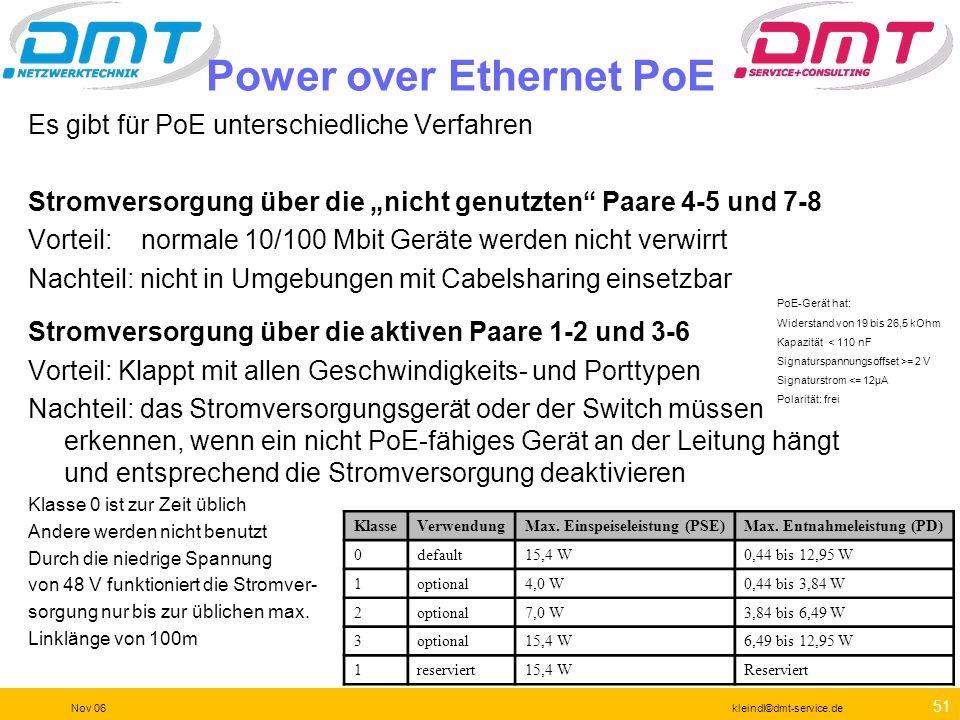 50 Nov 06kleindl©dmt-service.de Kupferkabeltest VoIP Stromversorgung = VoIP oder Wireless oder Keingeräte Das Ergebnis ist typisch für einen Power ove