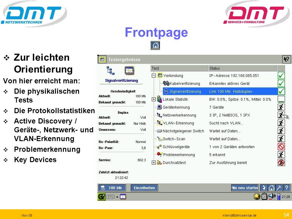 53 Nov 06kleindl©dmt-service.de Anschlüsse 10/100/1000Mbit Kupfer Wireless Speicherkarte