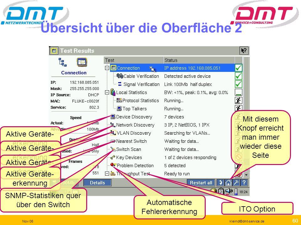 59 Nov 06kleindl©dmt-service.de Übersicht über die Oberfläche 1 Mit diesem Knopf erreicht man immer wieder diese Seite Übersicht über alle relevanten