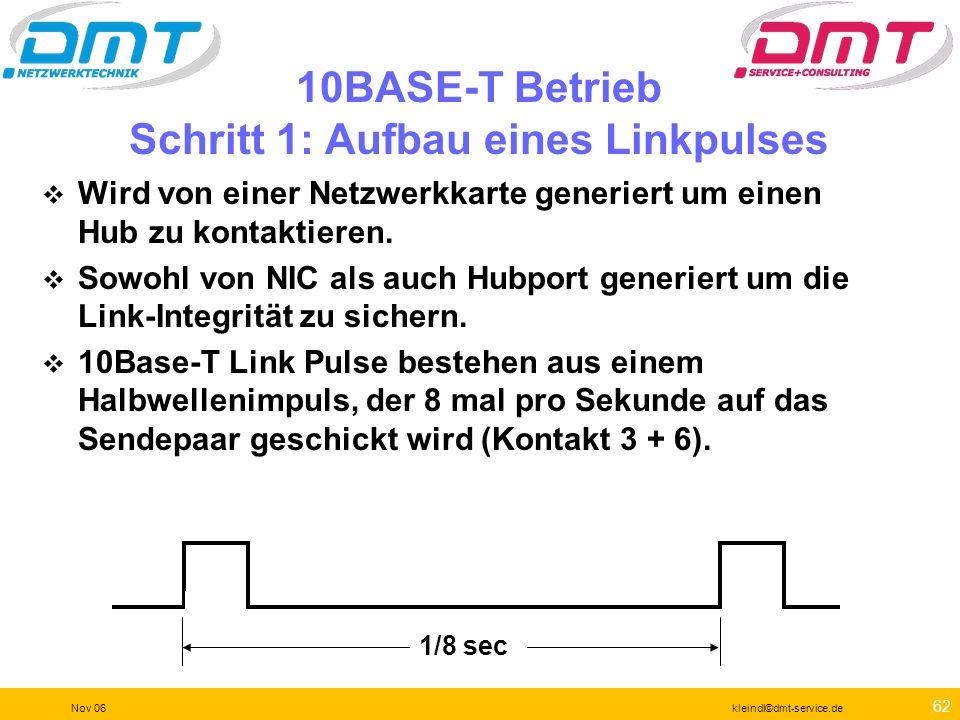 61 Nov 06kleindl©dmt-service.de Version und Optionen Die aktuelle Version ist 3.0.01 Es gibt noch funktionierende Versionen ab 1.3.08 Die Version 1.2.