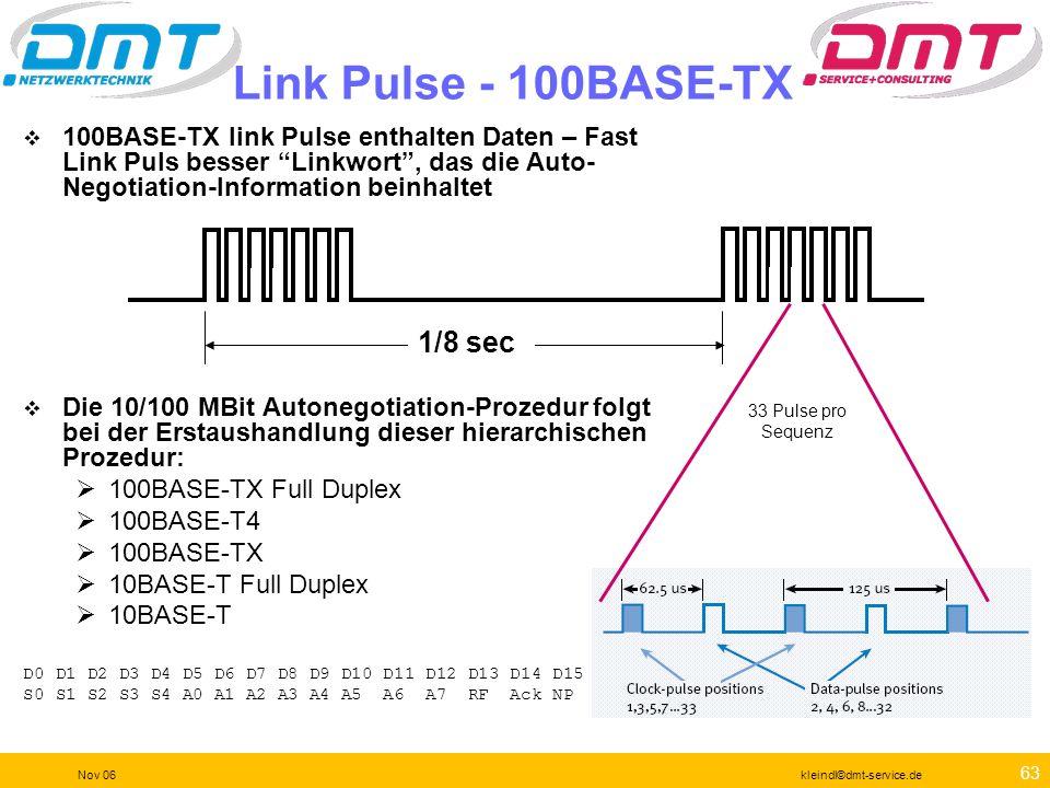 62 Nov 06kleindl©dmt-service.de 10BASE-T Betrieb Schritt 1: Aufbau eines Linkpulses Wird von einer Netzwerkkarte generiert um einen Hub zu kontaktiere