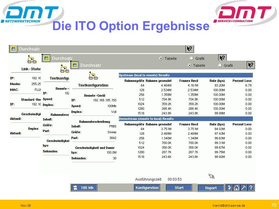 69 Nov 06kleindl©dmt-service.de Die ITO Option ITO steht für Internet Throughput Option Als ITO nur mit einem zweiten Gerät verwendbar (OptiView- INA,