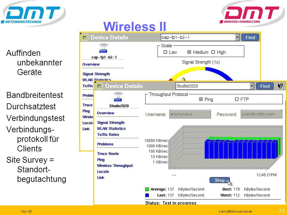 72 Nov 06kleindl©dmt-service.de Wireless I Die Wireless Option macht den EtherScope zum leistungsfähigen tragbaren a(h)bg Analyzer