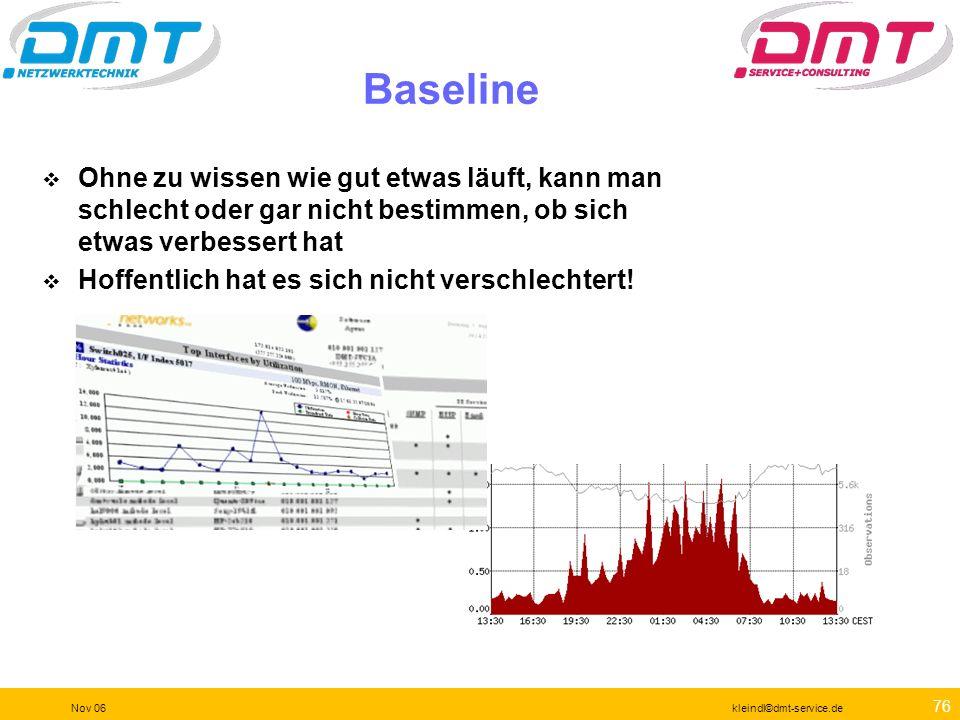 75 Nov 06kleindl©dmt-service.de Änderungen müssen geplant sein Marktsichtung Testlauf Einkauf Einschätzung des Einflusses Dokumentation des Ist-Zustan