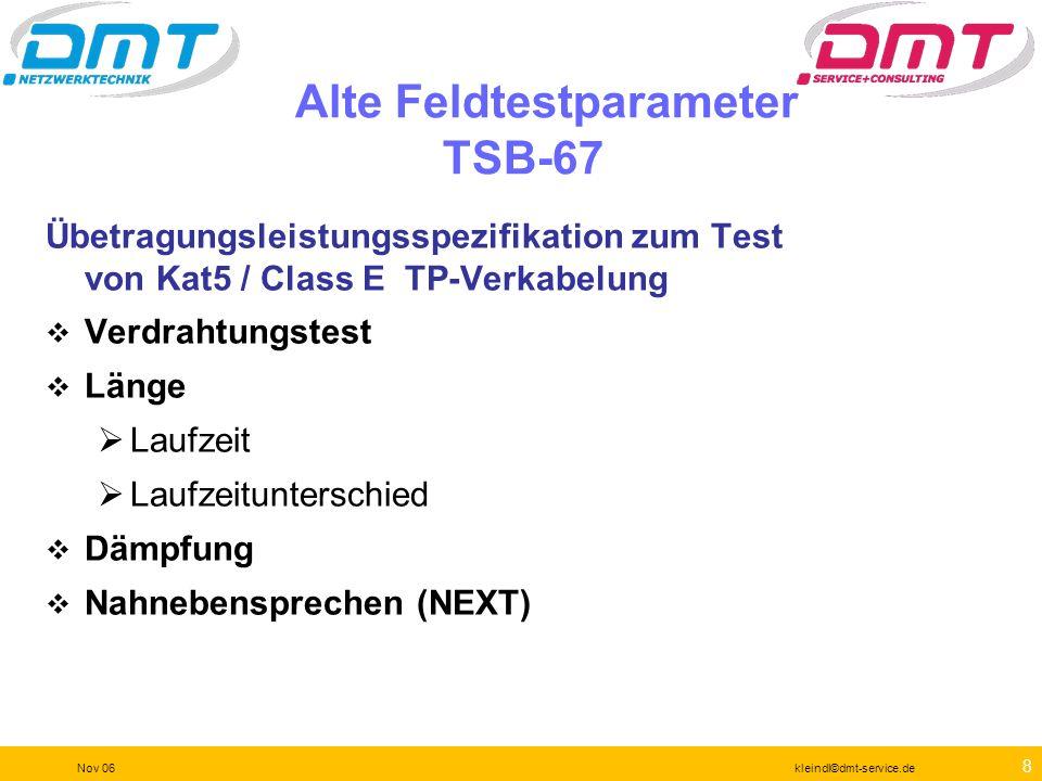 8 Nov 06kleindl©dmt-service.de Alte Feldtestparameter TSB-67 Übetragungsleistungsspezifikation zum Test von Kat5 / Class E TP-Verkabelung Verdrahtungstest Länge Laufzeit Laufzeitunterschied Dämpfung Nahnebensprechen (NEXT)