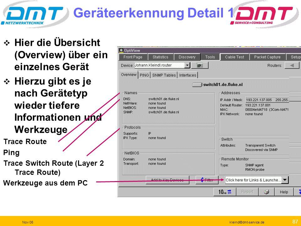 86 Nov 06kleindl©dmt-service.de Prüfung nach der Veränderung Wie genannt mit OVC und OPV
