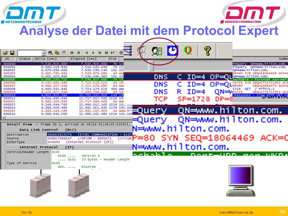 98 Nov 06kleindl©dmt-service.de Analyse der Datei mit dem Protocol Expert WAN