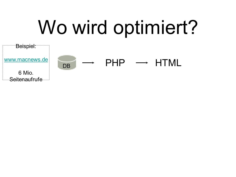 Wo wird optimiert? DB PHPHTML Beispiel: www.macnews.de 6 Mio. Seitenaufrufe